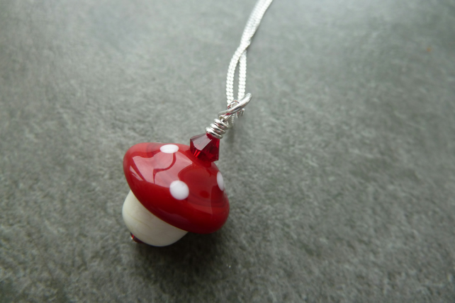 sterling silver chain, toadstool glass pendant