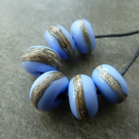 blue wrapped lampwork glass beads