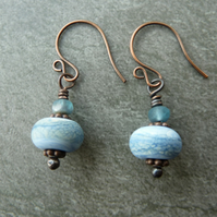 copper, blue lampwork glass earrings