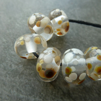 cream frit lampwork glass beads
