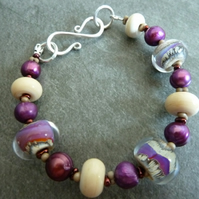 sterling silver, purple glass bracelet