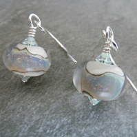 sterling silver, opal lampwork glass earrings
