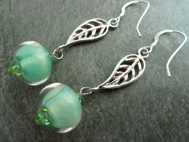 sterling silver leaf, green lampwork glass earrings