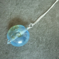 sterling silver chain, blue and silver pendant