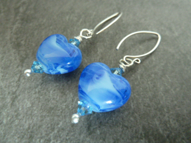 sterling silver, blue glass heart earrings