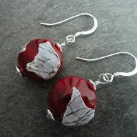 sterling silver, red and ivory earrings