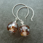 sterling silver peach lampwork glass earrings