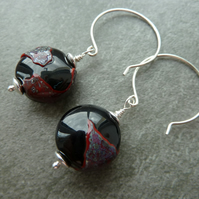 sterling silver earrings, black and red glass