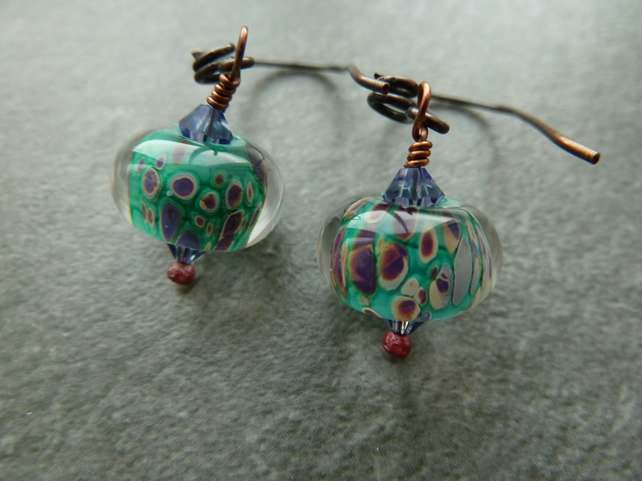 copper earrings, green lampwork