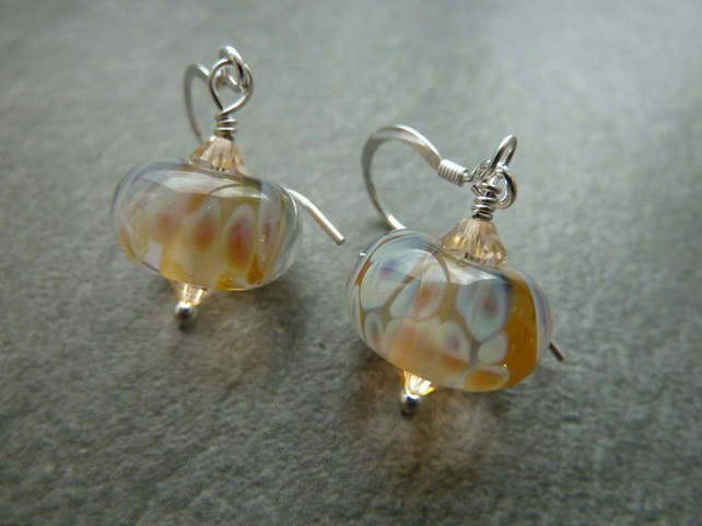 sterling silver earrings, pale lampwork glass
