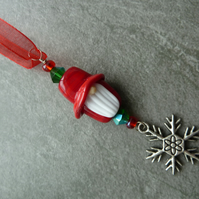 red gnome glass christmas tree decoration