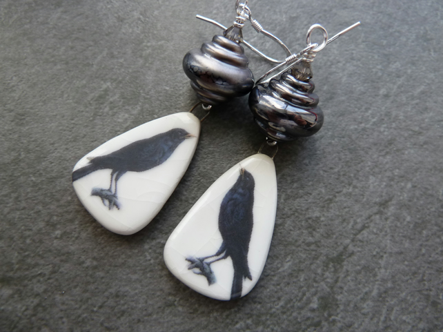 sterling silver earrings, black bird ceramic