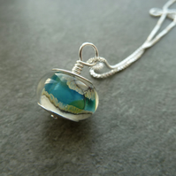 sterling silver chain, blue and ivory lampwork glass