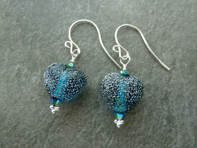 sterling silver, blue star dust heart lampwork glass