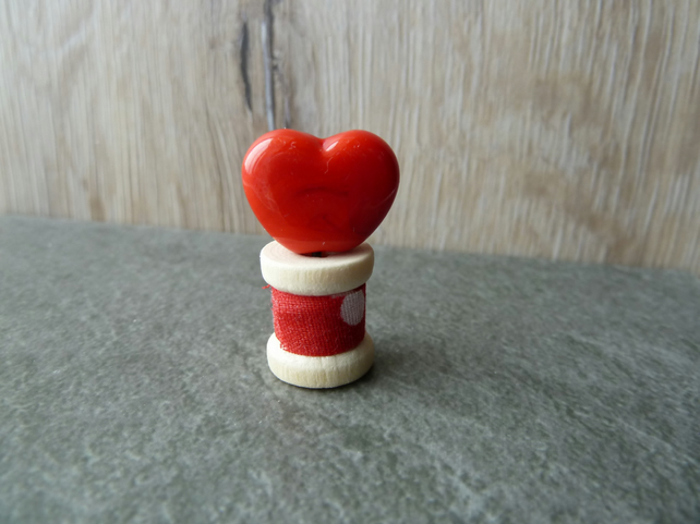 wooden spool with heart