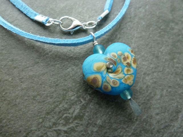 faux suede necklace, blue lampwork pendant