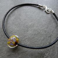 leather cord and lampwork bracelet