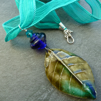 ceramic leaf on hand dyed silk necklace
