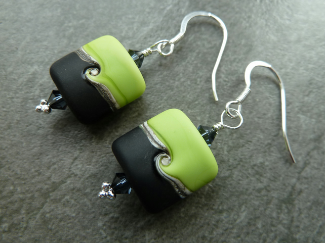 green and black lampwork glass earrings