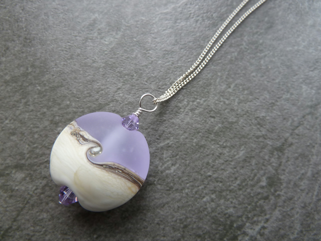 sterling silver chain, lilac frosted glass pendant