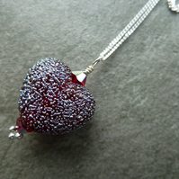 sterling silver chain, red lampwork glass heart
