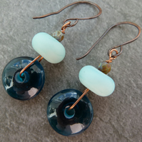 copper and teal lampwork glass earrings