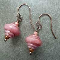 Copper and lampwork earrings, pink glass