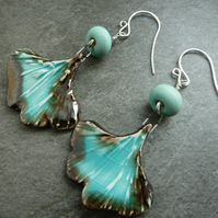 sterling silver, green lampwork glass and ceramic earrings