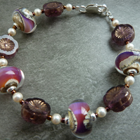 sterling silver, purple lampwork glass bracelet