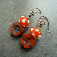 copper earrings, orange polka dot lampwork glass