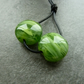 handmade lampwork glass beads, green pair