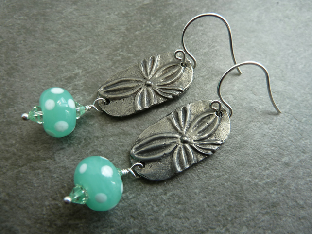 sterling silver, pewter flowers and green lampwork glass earrings