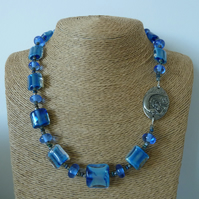 blue lampwork glass necklace, pewter mermaid