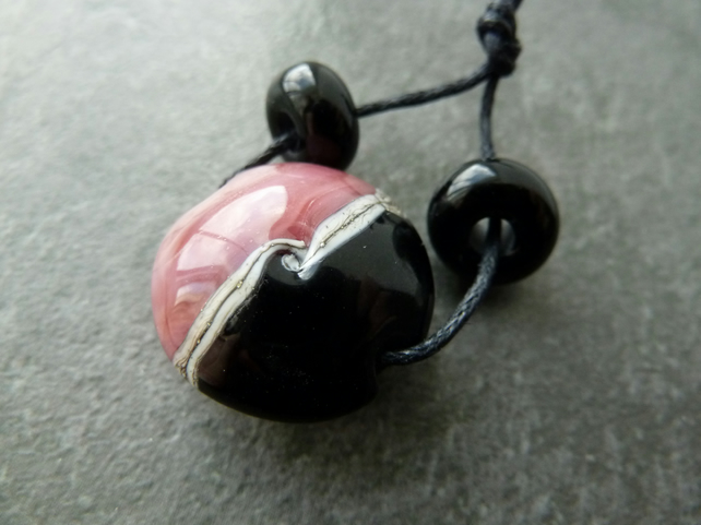 handmade lampwork glass bead, pink and black focal