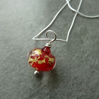 sterling silver chain, lampwork glass pendant
