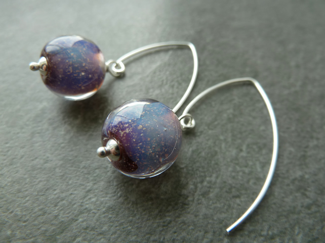 sterling silver earrings, purple lampwork glass jewellery