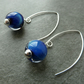 sterling silver, lampwork glass earrings