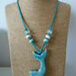 ceramic whale, faux suede, lampwork glass necklace