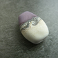 handmade lampwork glass bead, purple and ivory focal