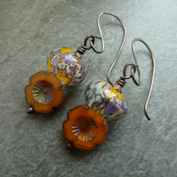 copper, lampwork glass, orange flower earrings