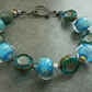 blue lampwork glass bracelet