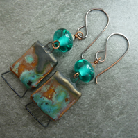 copper, teal lampwork glass and ceramic earrings