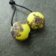 lampwork glass beads, yellow and brown speckles