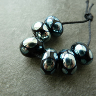 lampwork glass beads, black and silver spots