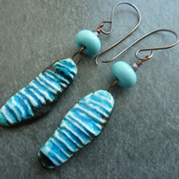 Copper, blue lampwork glass and ceramic earrings