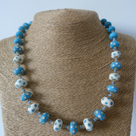 ivory and turquoise spot lampwork glass necklace