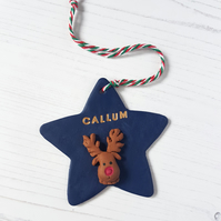 Personalised Christmas character Star Hanging decoration