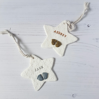 Personalised baby feet Star Hanging decoration