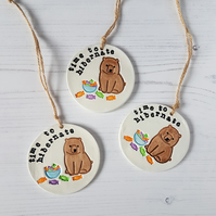 Time to hibernate bear and sweets hanging decoration, one supplied