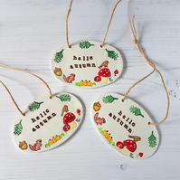 """Hello Autumn"" hanging plaque decoration, one supplied"
